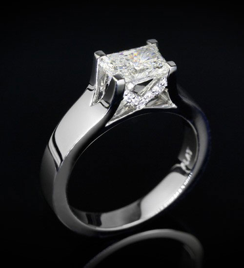 radiant cut diamond ring, custom setting