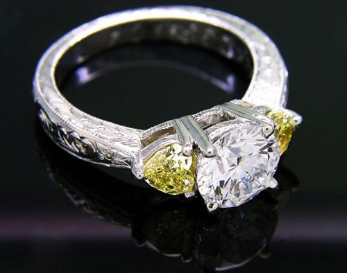 3 stone color diamond ring