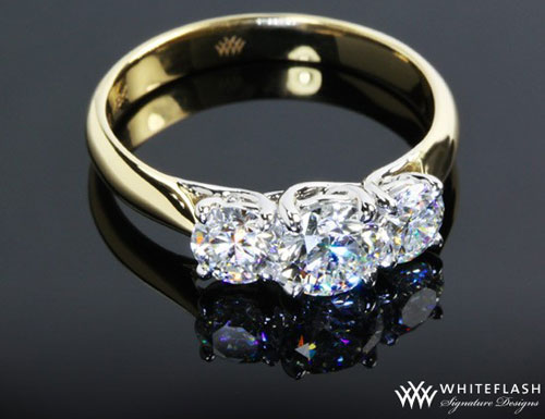 three stone gold diamond engagement ring