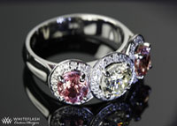 Linda Walther, 3-stone halo ring
