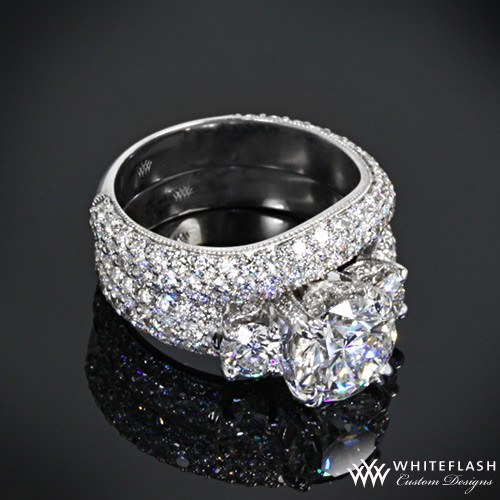 3 Stone Pave Diamond Engagement Ring