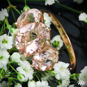 3 Stone Rose Gold Morganite Ring