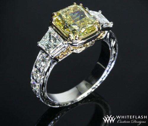princess cut yellow diamond ring