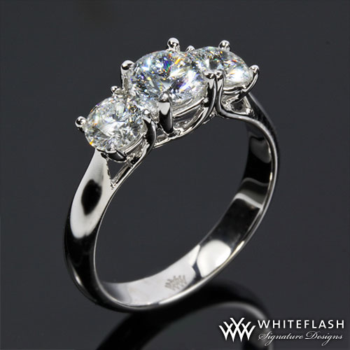 4 prong three stone engagement ring