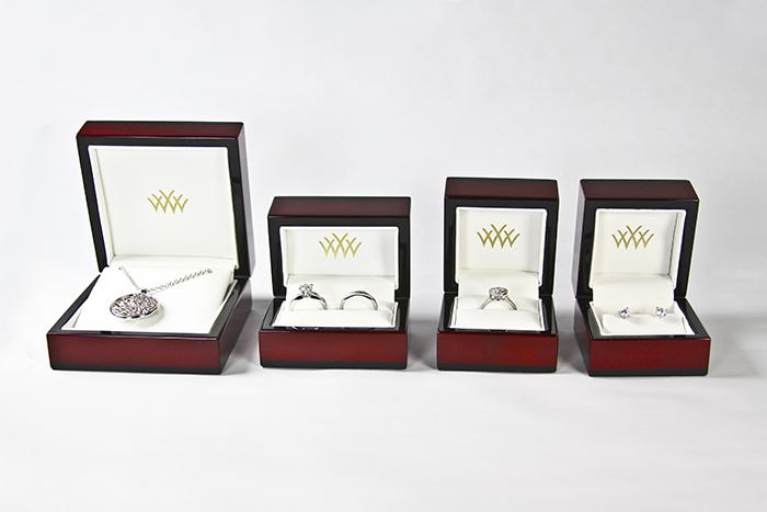 Whiteflash Premium Cherry Wood Jewelry Boxes