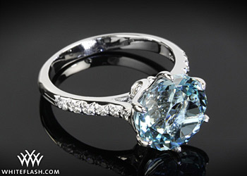 Whiteflash Aquamarine Swan Engagement Ring