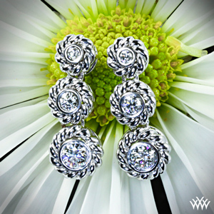Bezel Triple Braid Diamond Earrings