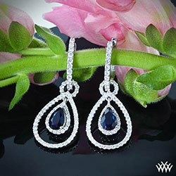 Diamond and Blue Sapphir Drop Earrings
