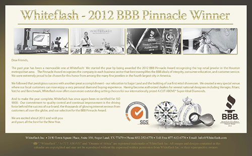 Top Jeweler BBB Pinnacle Award Winner Whiteflash 2013 Calendar