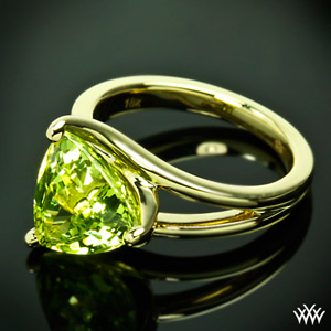 Custom Chrysoberyl Trilliant Yellow Gold Solitaire Ring