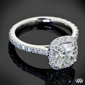 Custom Cushion Cut Micro Pave with Halo Diamond Engagement Ring