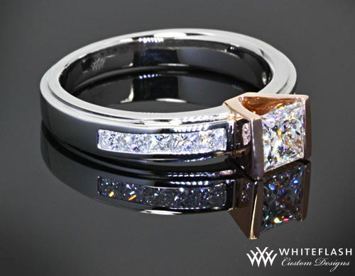 custom engagement ring with princess-cut diamond center stone