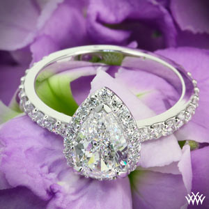 custom white gold pear diamond engagement ring by Whiteflash