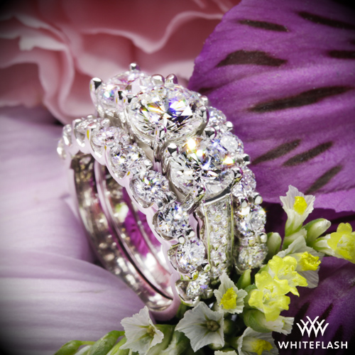 Custom Three Stone Engagement Ring with Custom Ring Guards