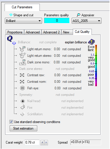 Cut Quality Tab and Appraiser set to AGS_2005