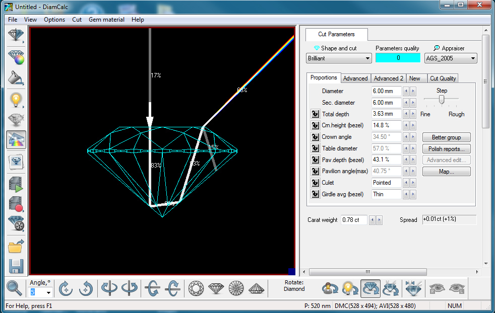 DiamCalc screen set to wire frame and basic ray tracing