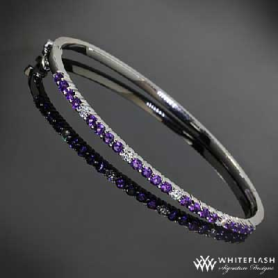 hand bangle with purple sapphires and diamonds