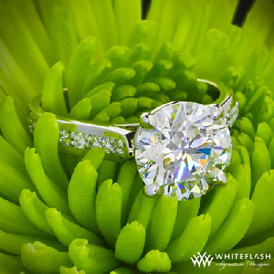 4 prong round cut diamond engagement ring on a green grass
