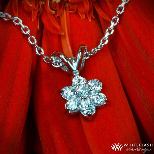 flower shaped diamond pendant