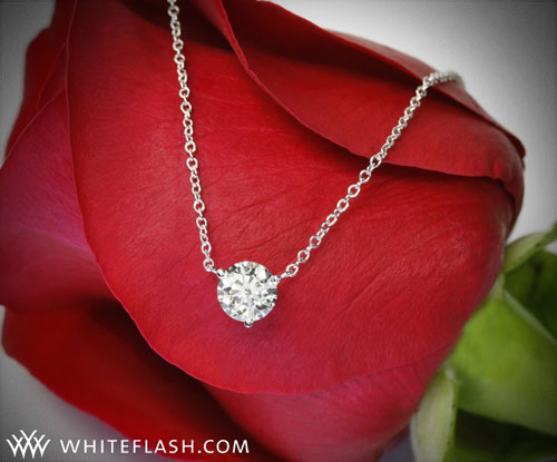 martini diamond pendant on flower