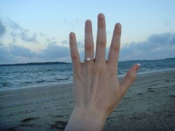 gorgeous diamond solitaire, beach photo