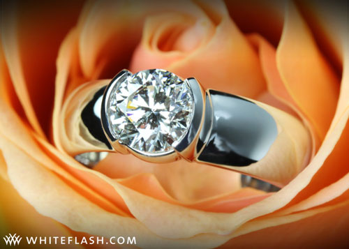 diamond set in platinum bezel setting