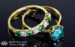 Diamond Tsavorite Engagement Ring Set