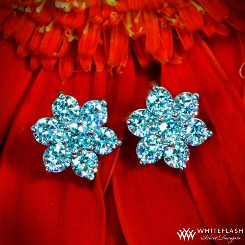 flower-shaped diamond stud earrings