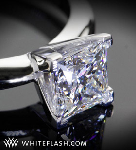 four prong square cut diamond ring