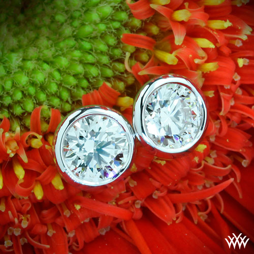 Full Bezel White Gold Diamond Earrings by Whiteflash