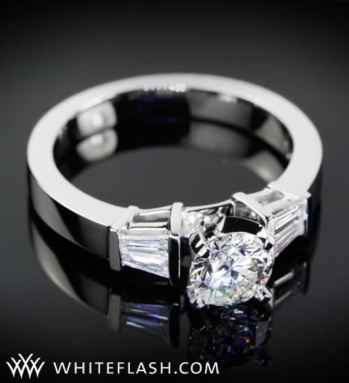 Baguette three stone diamond ring