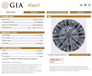 GIA e-report (sample)