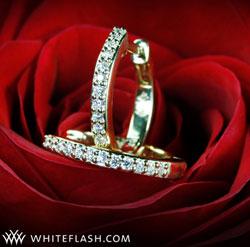 Gold Huggie Diamond Hoops