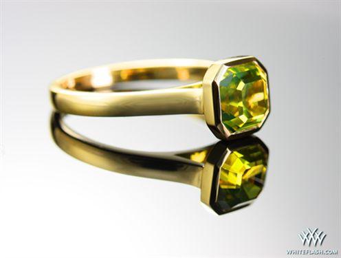Green Gold Bezel Engagement Ring