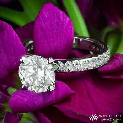 harmony engagement ring with round cut diamond