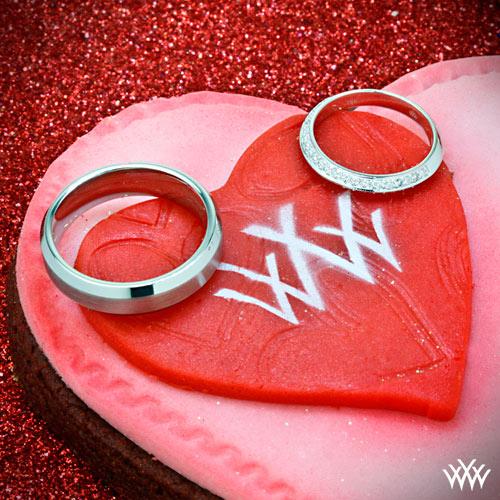 Knife Edge Pave and Cobalt Chrome Wedding Rings