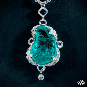 Large Blue Gemstone and Diamond Pendant
