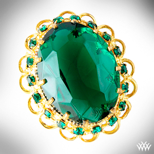 Large Oval Emerald and Yellow Gold Brooch