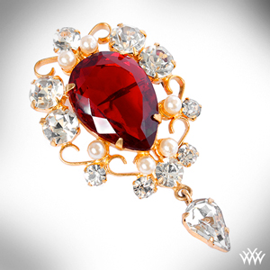 Pear Cut Ruby Pearl and Diamond Brooch in Yellow Gold
