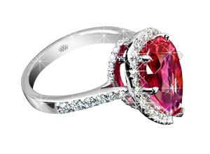 Pear-Spinel-Diamond-Ring