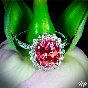 Imperial Lotus Padparadscha Halo Right Hand Ring
