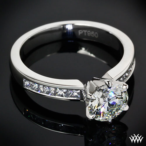 Platinum channel set diamond engagement ring by whiteflash
