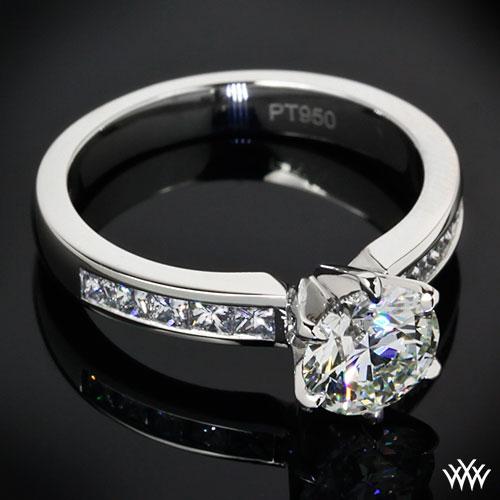 Platinum channel set diamond engagement ring by whiteflash