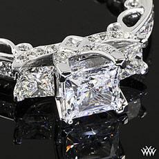 Platinum Verragio Bead-Set Princess 3 Stone Engagement Ring