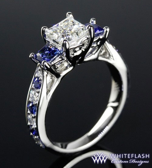 Princess Cut Diamond With Sapphire Three Stone Ring