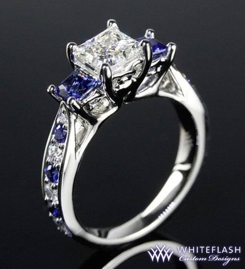 princess cut diamond with sapphire three stone ring