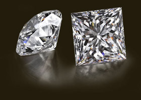 princess cut diamond and round cut diamond