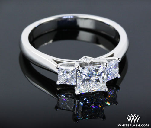 princess-cut diamond ring three-stone