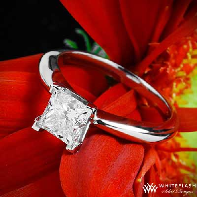 beautiful princess cut solitaire ring