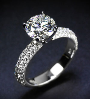 rounded pave diamond engagement ring, custom design diamond rings